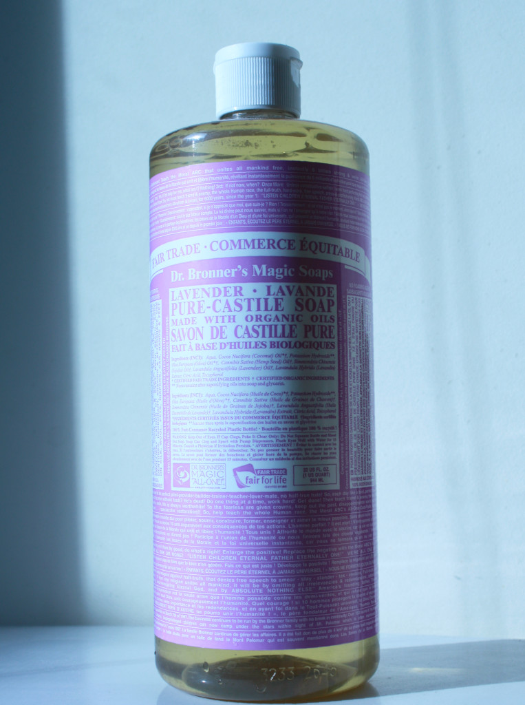bottle of Dr. Bronner's Magic Soap in lavender scent