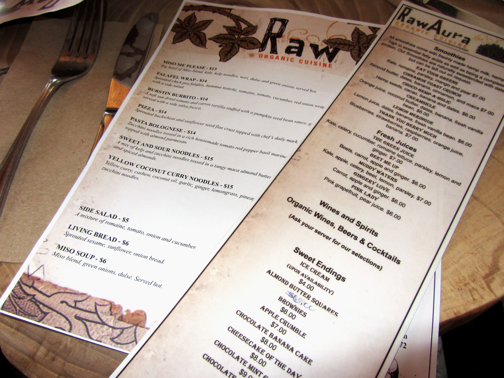 Raw Aura's menus for smoothies, wines and spirits, desserts, and main courses.