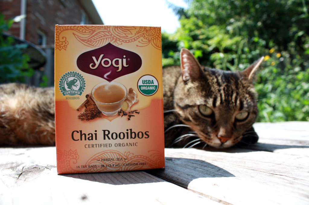 Chai Rooibos tea by Yogi (my tabby cat is lounging in the background)