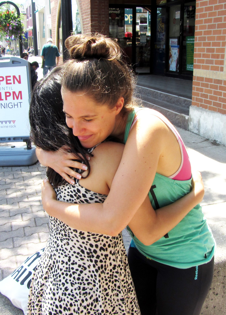 Saar and I in a giant whopping love hug