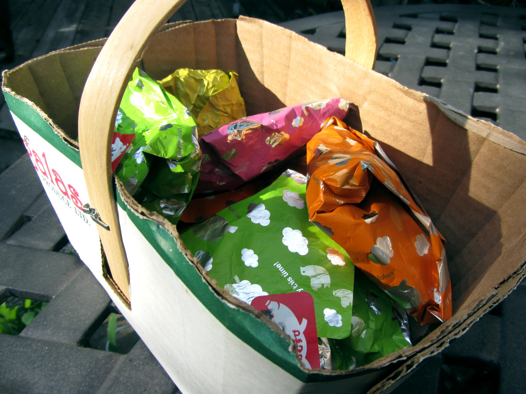 Little bundles of Dutch pepernoten (wrapped in brightly coloured foil)