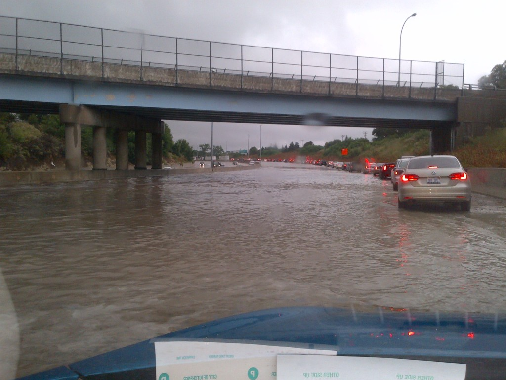 Flooding beneath an overpass