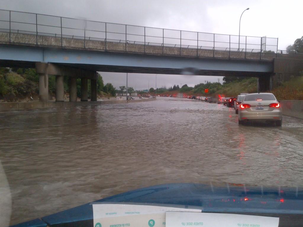 Flooding beneath an overpass