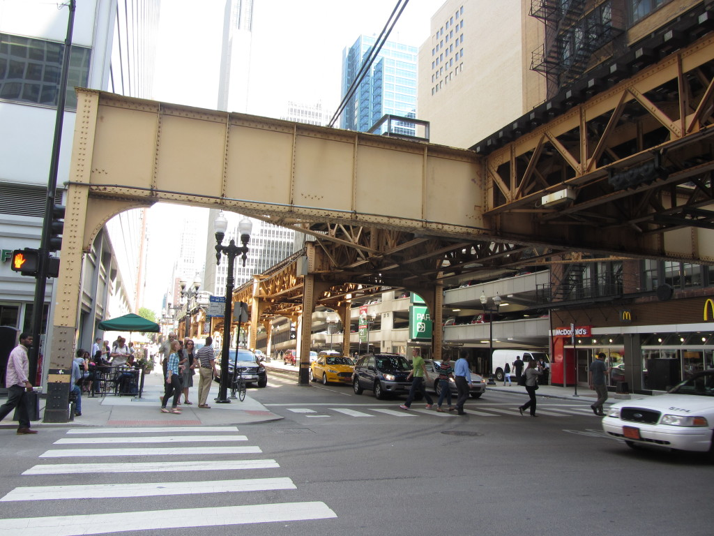 The elevated Chicago transit system, criss-crossing through the downtown streets