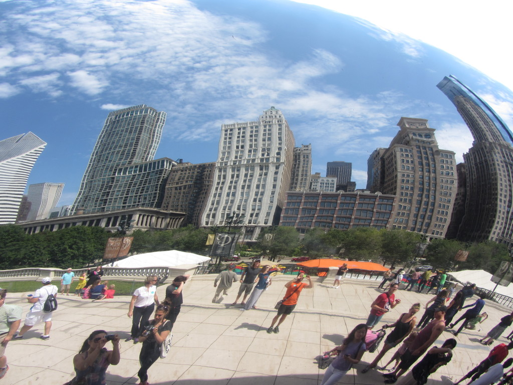 A reflection of the Chicago skyline in the kidney bean