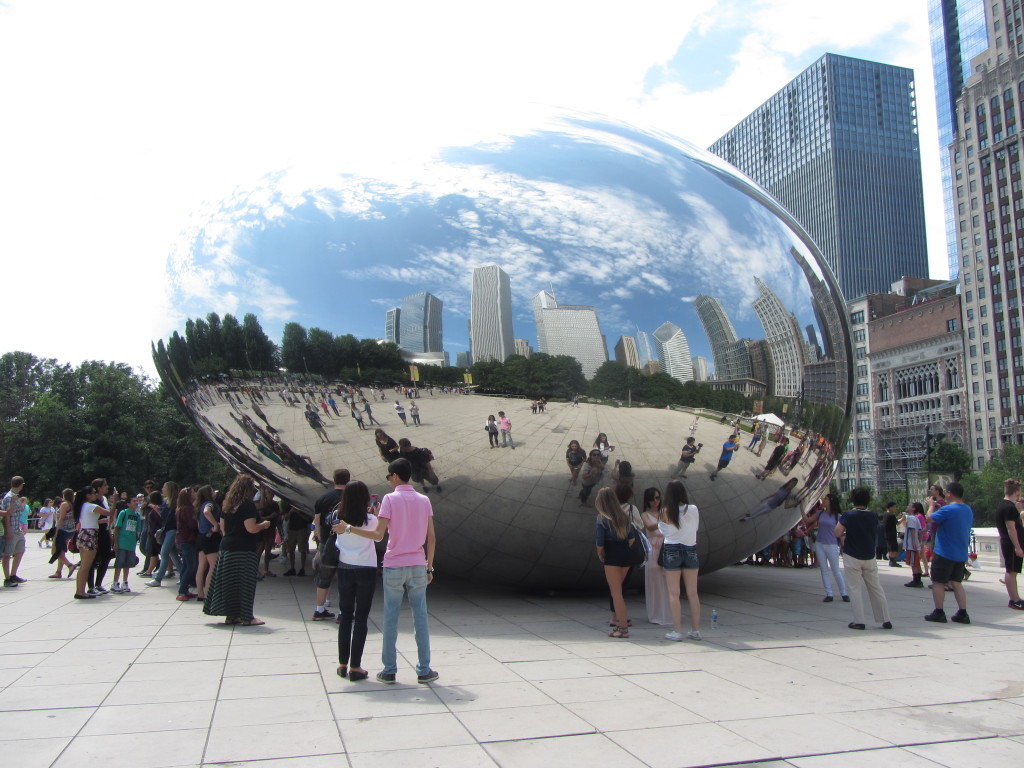 The Chicago skyline reflected in the mirrored kidney bean; looks like it is in a raindrop!