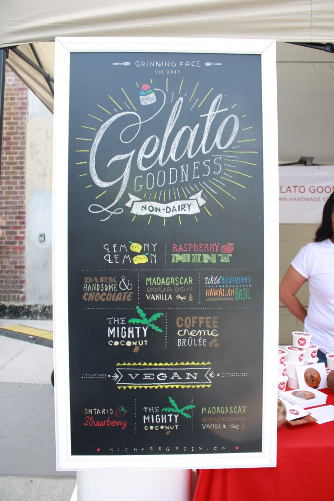 A pretty and colourful chalk sign for Gelato Goodness non-dairy gelato