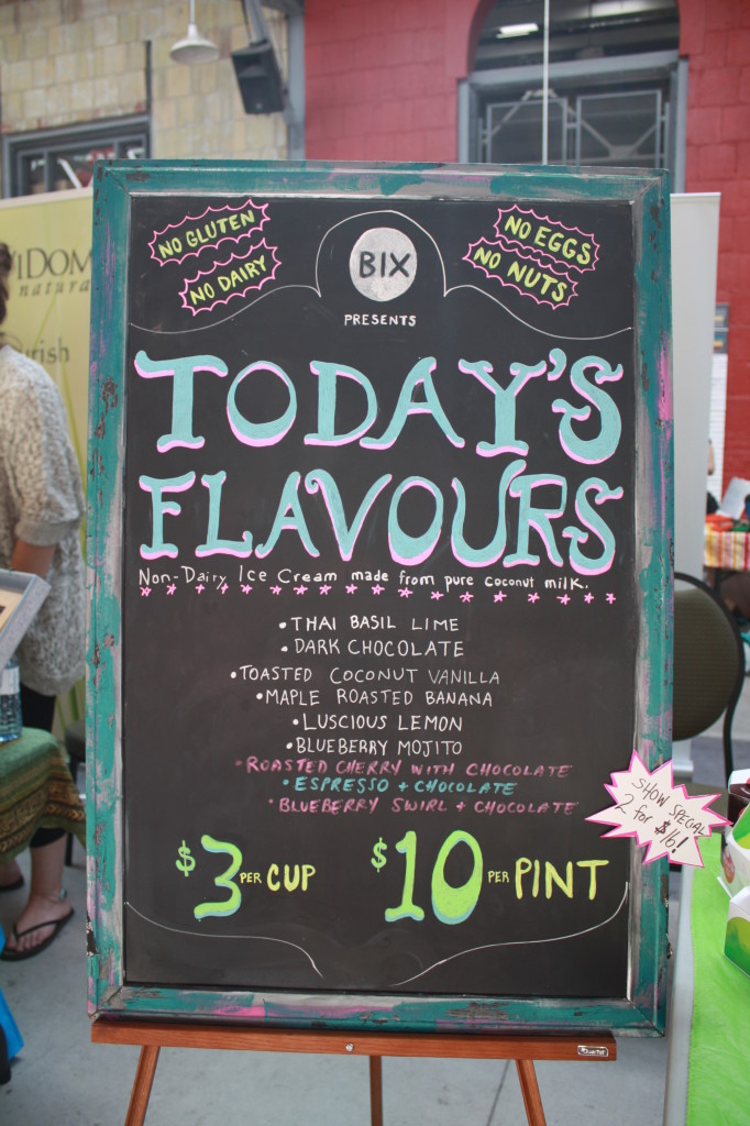 Another pretty chalkboard sign for non-dairy ice cream. It's obvious why these signs are so popular. They're adorable!
