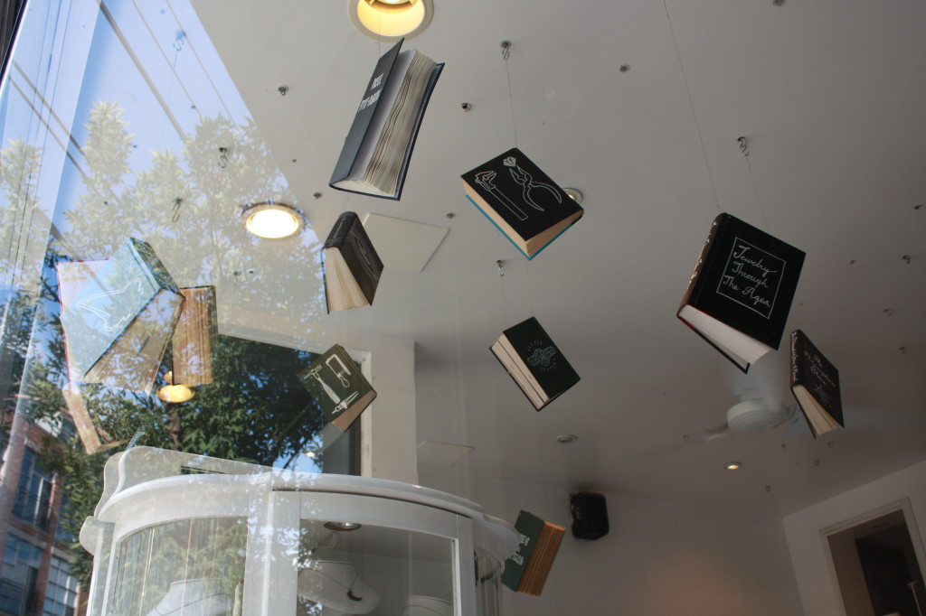 Floating books display