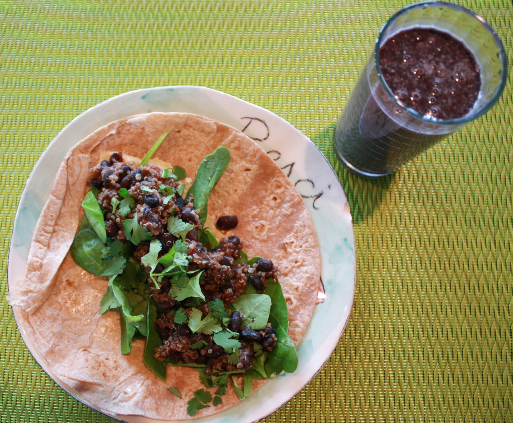 green smoothie, breakfast wrap with black beans and quinoa