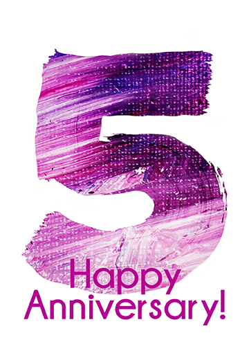 """Happy 5th Anniversary!"" greeting card"