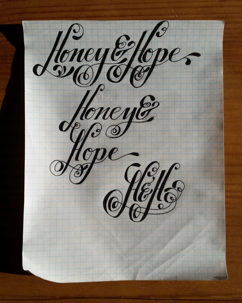 handlettered logo sketches