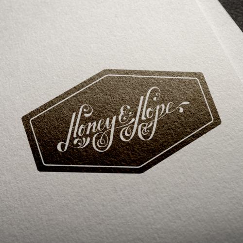 handlettered logo for the luxury honey brand, Honey & Hope