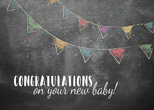 "chalkboard with bunting ""Congratulations on Your New Baby!"" greeting card"