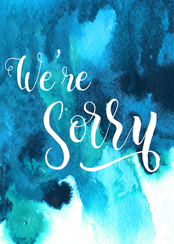"handlettered and watercoloured ""We're Sorry"" condolence greeting card"
