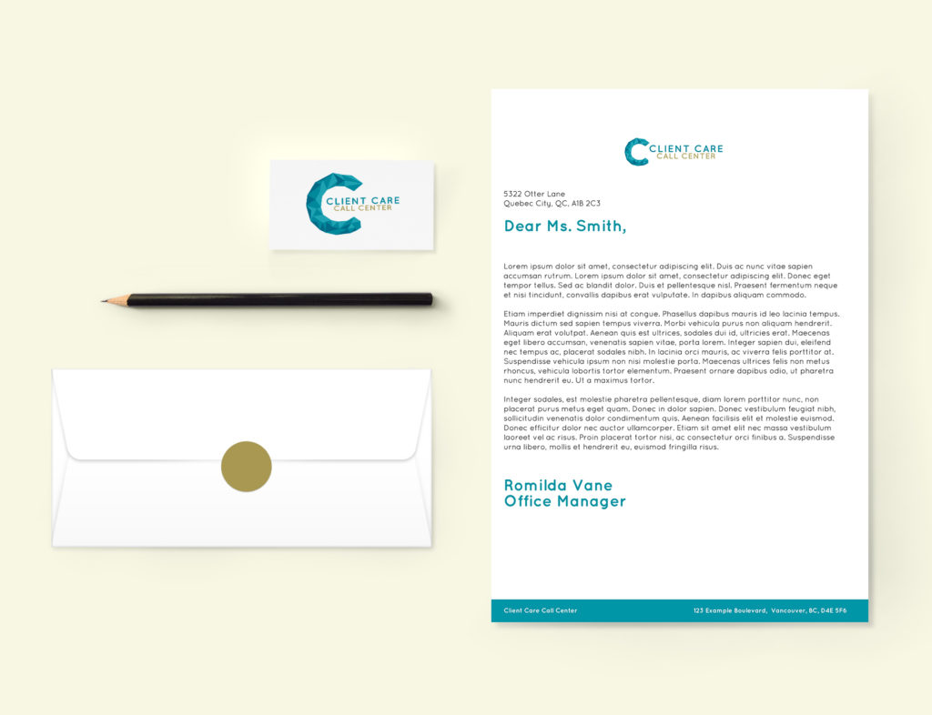 Client Care Call Center stationery mockup